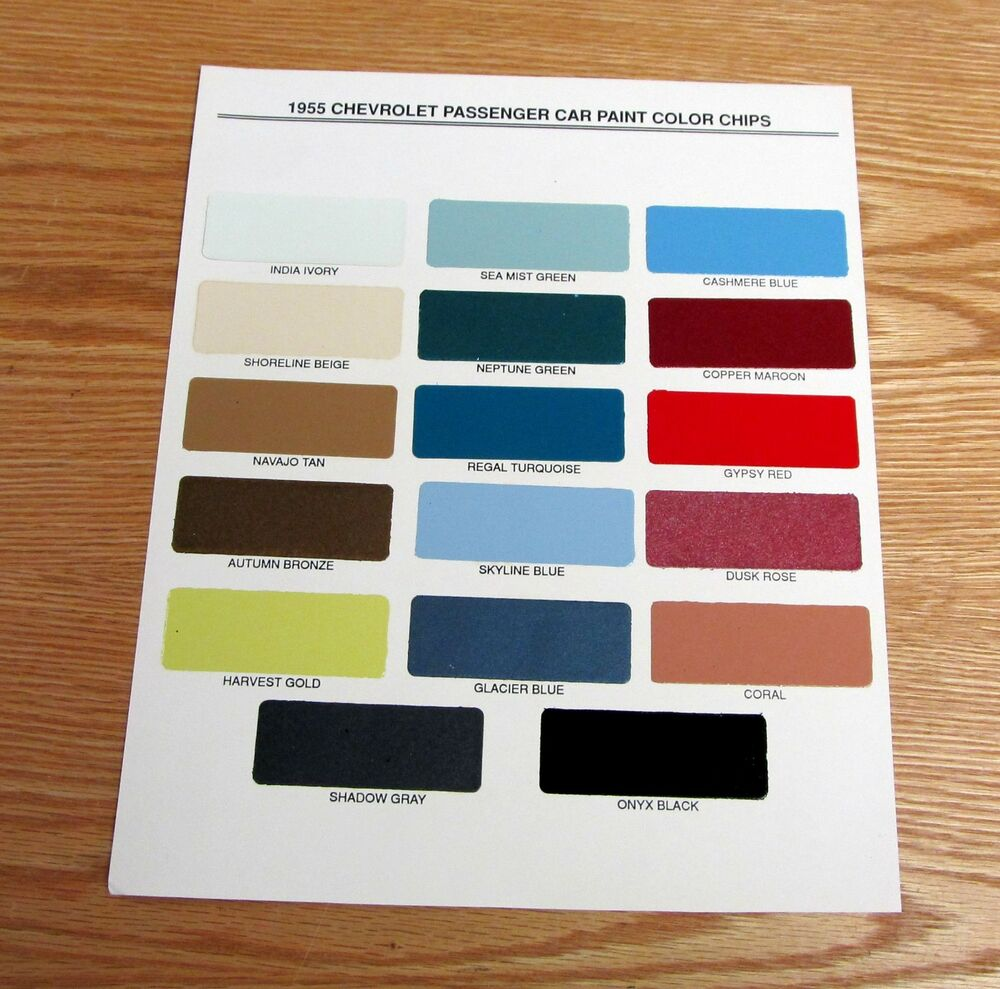 1955 CHEVY PAINT CHIP CHART ALL ORIGINAL COLORS | eBay