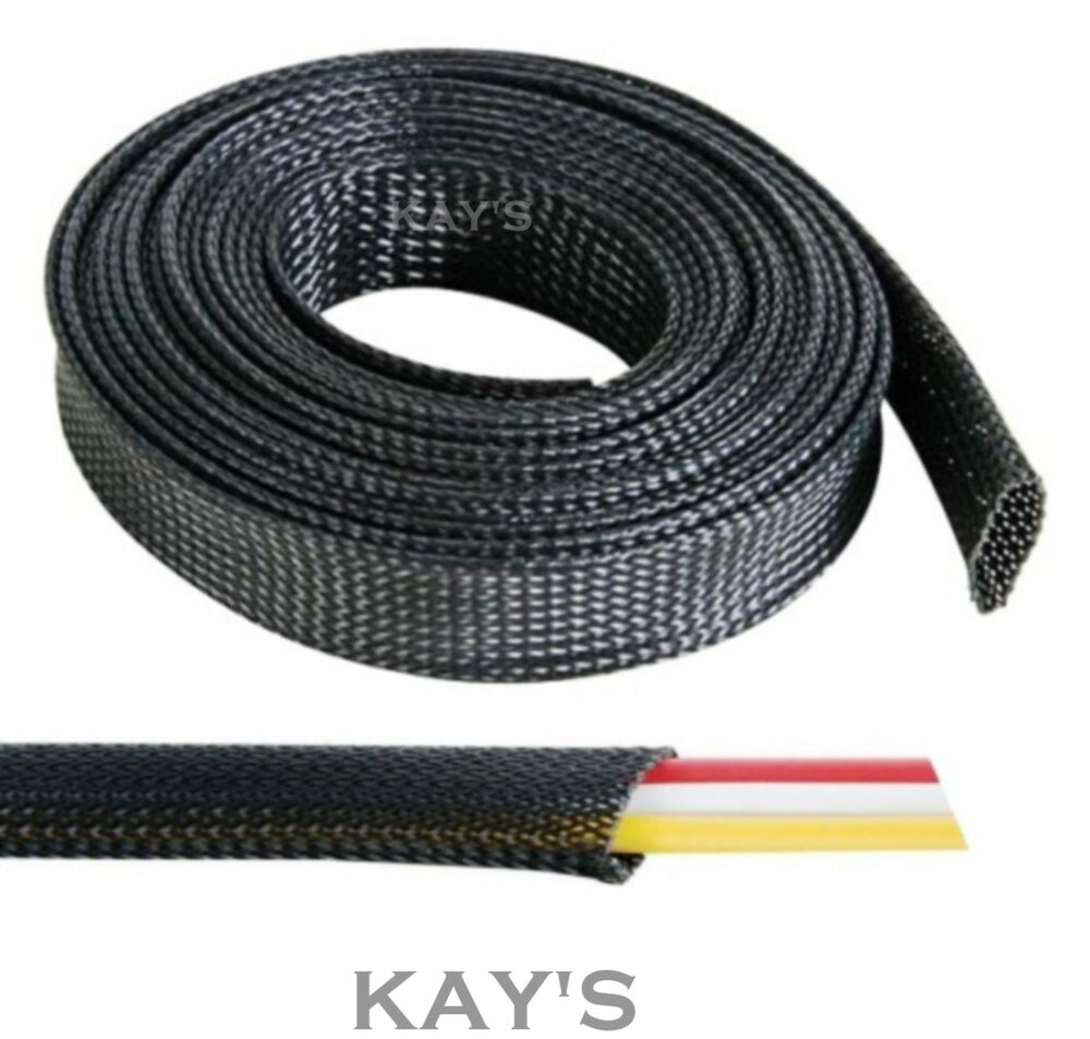 Automotive Wiring Insulation : Black braided cable sleeving sheathing auto wire