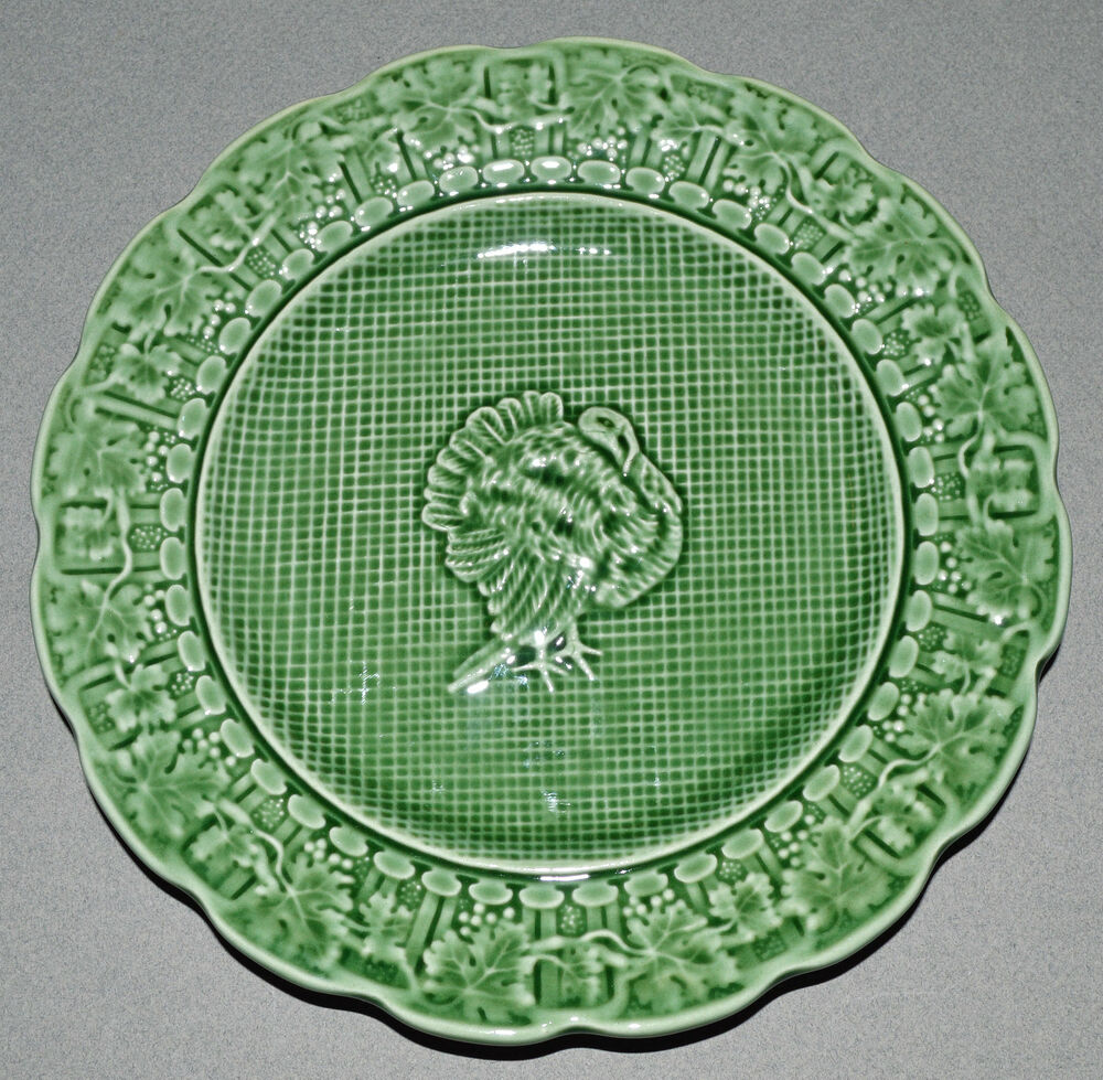 Thanksgiving green turkey majolica dessert plate s 8 - Bordallo pinheiro portugal ...