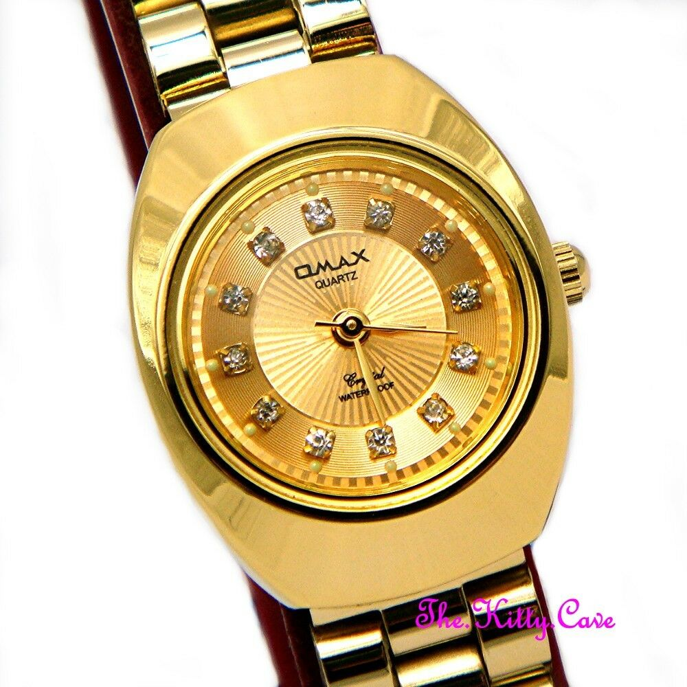 Designer classic omax ladies waterproof gold plated crystal dress watch wp3900 ebay for Crystal watches