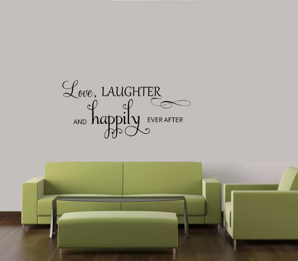 love laughter happily ever after wall quote decal vinyl