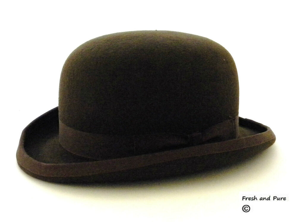 Details about New 100% Wool Original Derby English Bowler Hard Top Events  Hat Brown 490d0bf7372