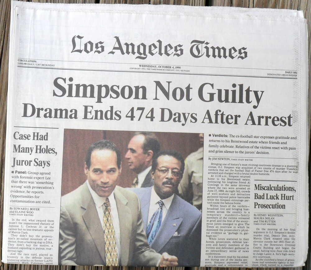 O. J. SIMPSON NOT GUILTY >COMPLETE L. A. TIMES NEWSPAPER ...