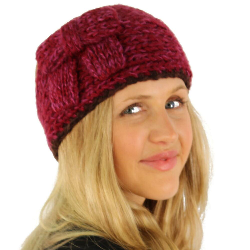 Knitting Pattern Ski Headband : Multicolor Adjustable Winter Ribbow Bow Hand Knit Headwrap ...