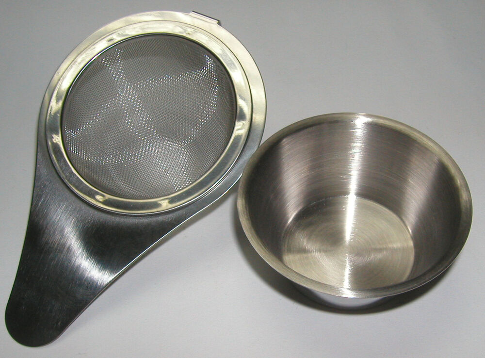 Stainless Steel Mesh Tea Strainer Infuser With Drip Bowl
