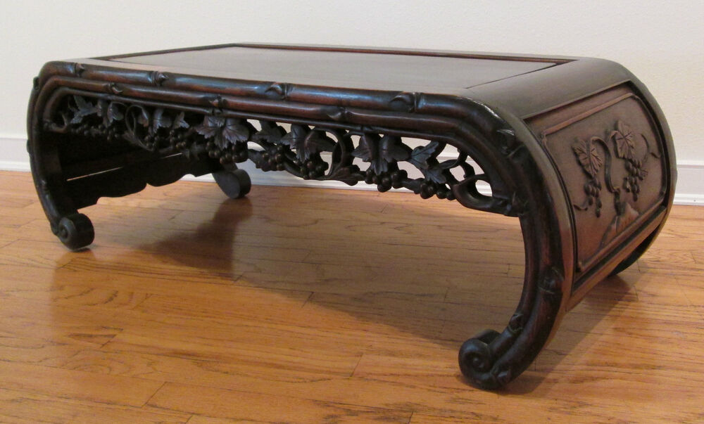 Antique chinese hand carved scroll scholars coffee table for Antique scroll coffee table