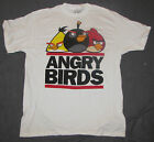 MENS T-SHIRT SMALL ANGRY BIRDS BLACK YELLOW RED BIRD WHITE GRAPHIC TEE GAME TAGS