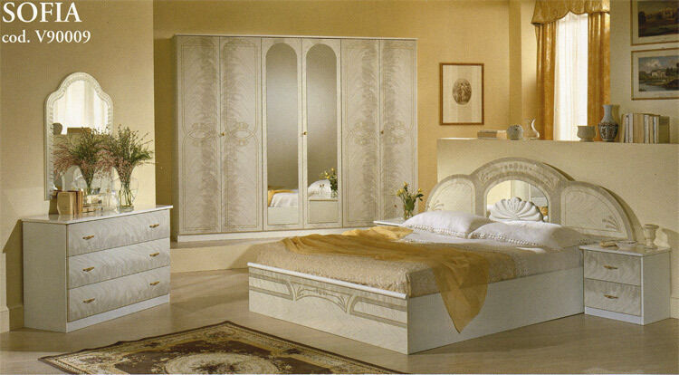 komplett stil m bel aus italien design schlafzimmer sofia wei klassik ebay. Black Bedroom Furniture Sets. Home Design Ideas