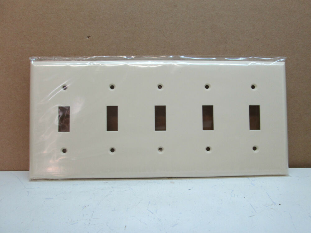 PEP Five-Gang 5-Gang Toggle Switch Wall Plate Wallplate Cover - Light Almond eBay