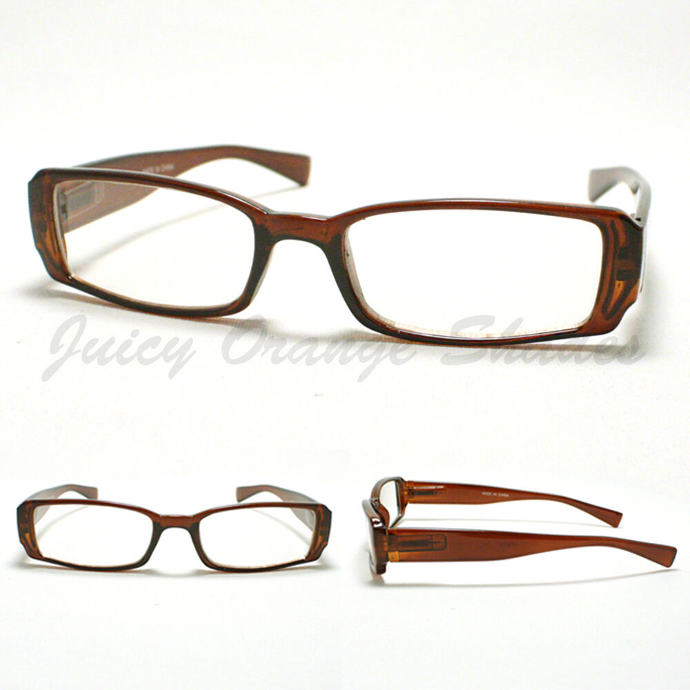 SMALL RECTANGULAR Eyeglass Frames BROWN SIMPLE CLASSIC ...