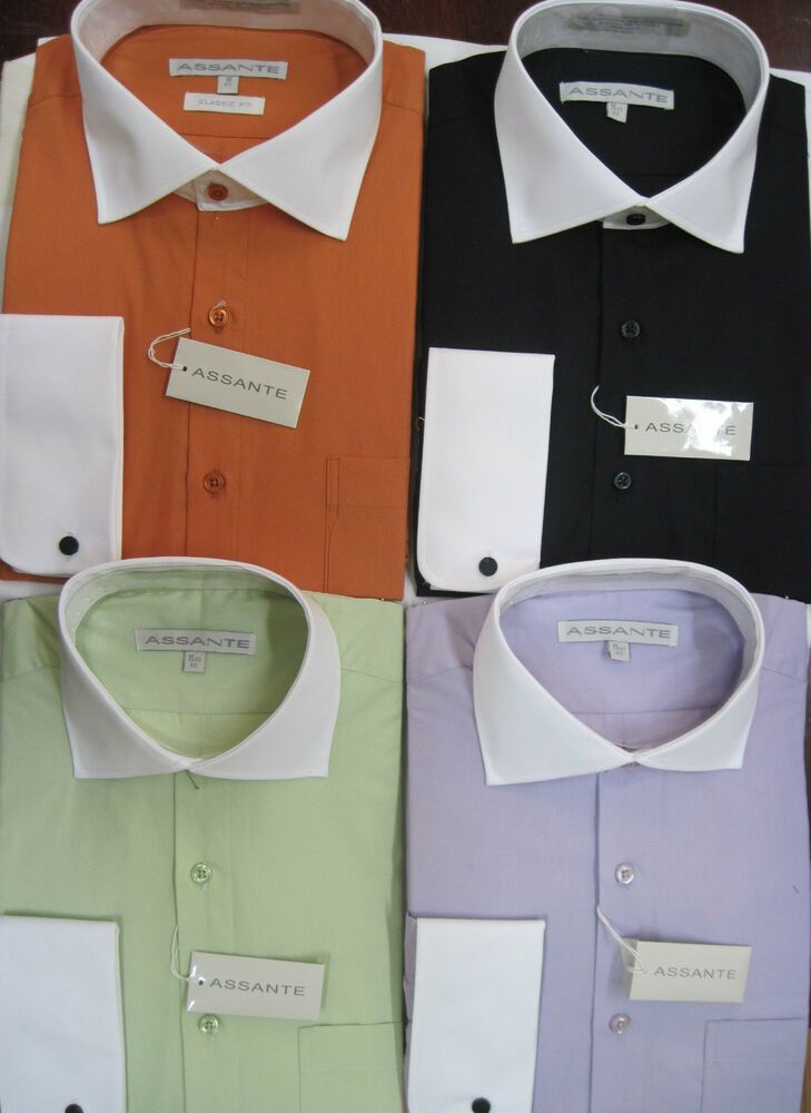 Colored Dress Shirt With White Collar