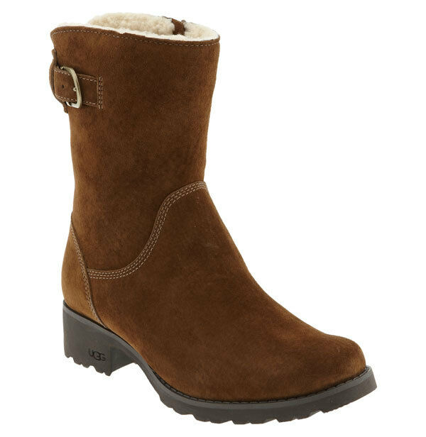ugg australia mare suede buckle logo zipper ankle boots ebay