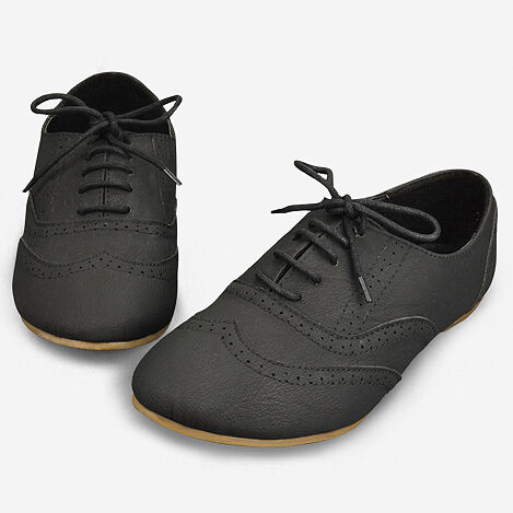 New Womens Black Lace Up Dress Shoes