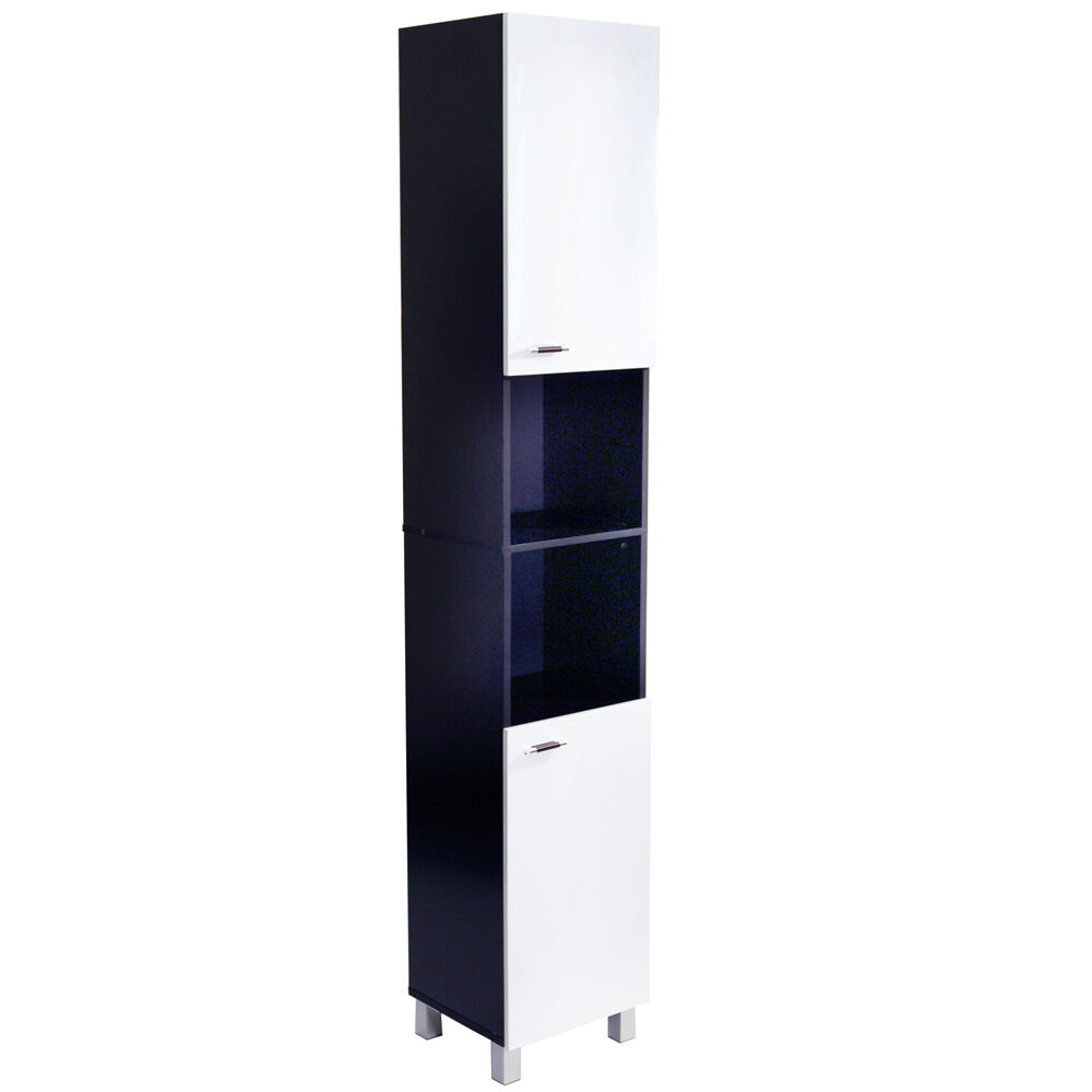 Gloss tall bathroom storage cabinet white black ba5106 ebay - Bathroom cabinets black gloss ...