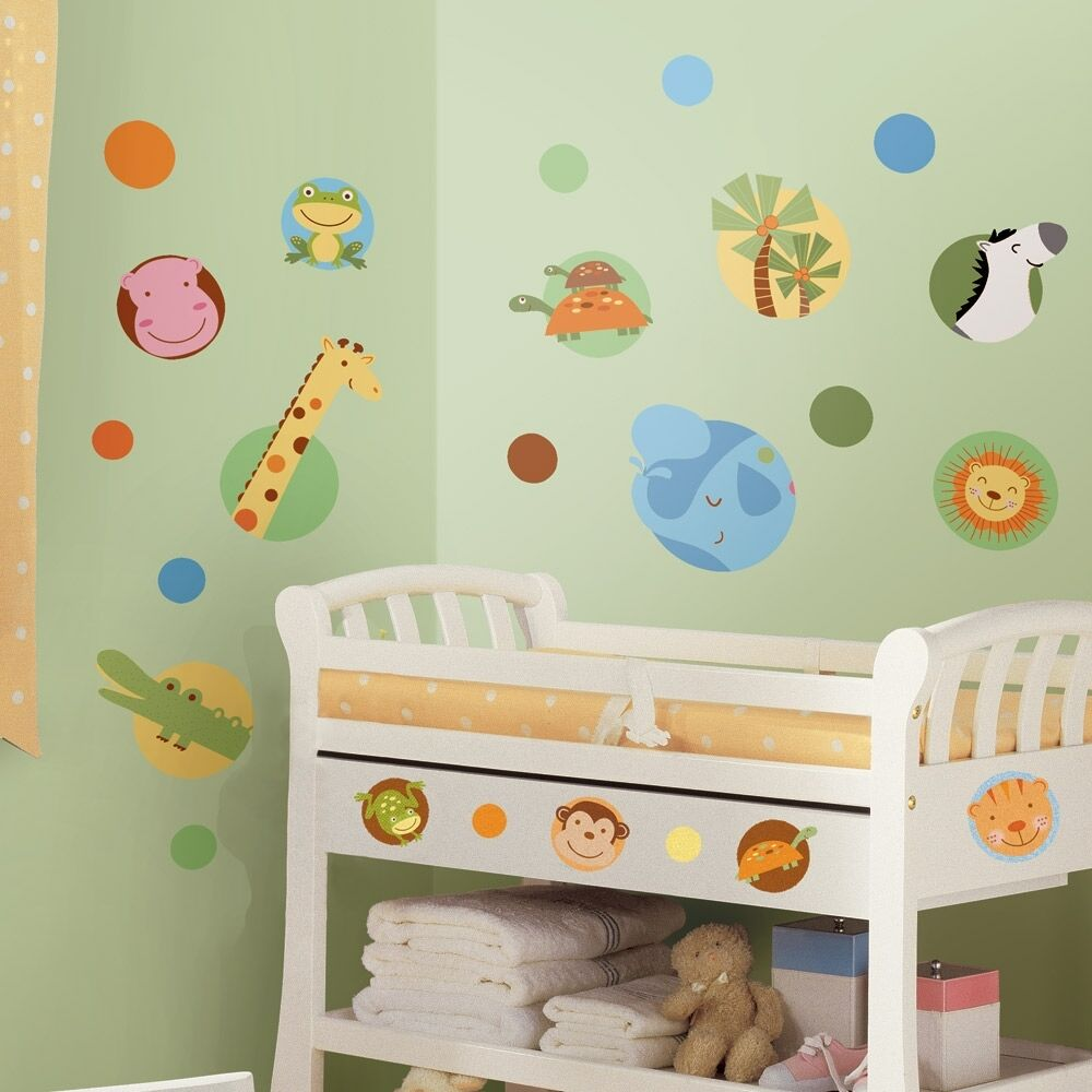 24 new jungle animals polka dots wall decals baby nursery for Baby room decoration accessories