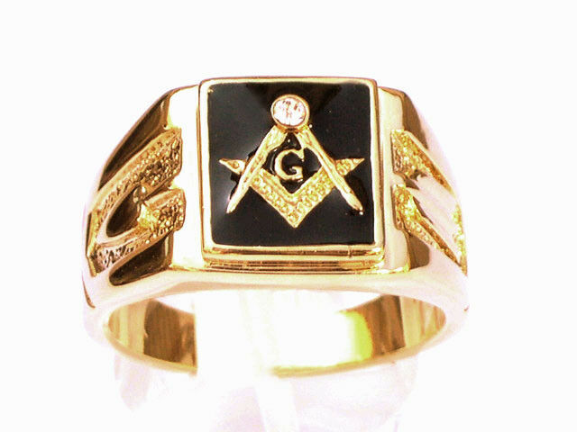 18k Gold Plated Mason Masonic Ring Blue Lodge Size 8 9 10