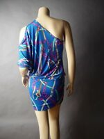 Sale Posh Scarf Print Open Cold Cutout One Shoulder Banded Bottom Party Dress S