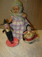 3 antique celluloid  dolls