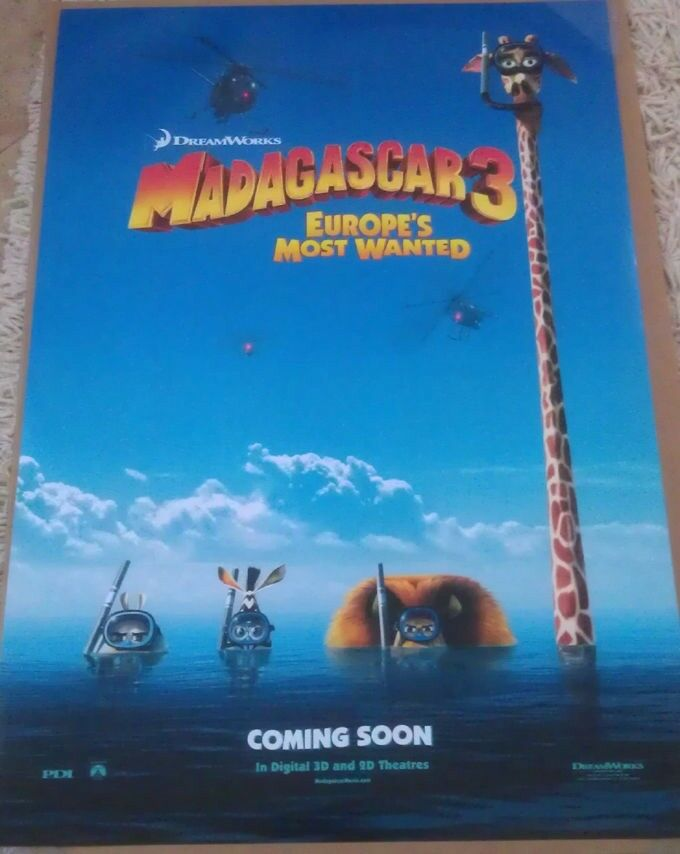MADAGASCAR 3 MOVIE POSTER 2 Sided ORIGINAL Advance 27x40 ...