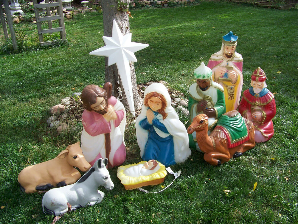 Vintage BLOW MOLD NATIVITY SET 10 Pc HOLY STAR Christmas ...
