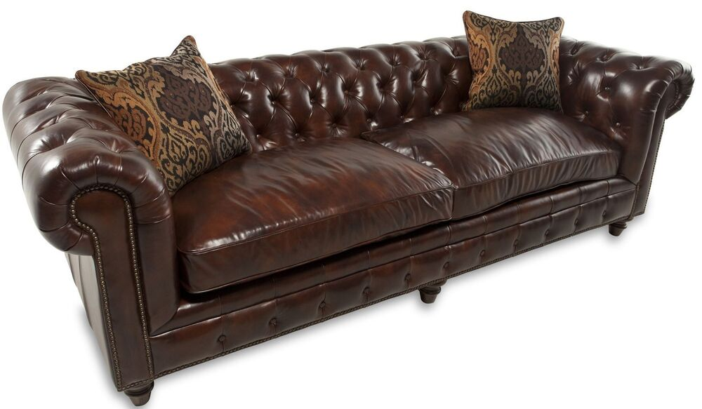 tufted leather sofa kensington chesterfield restoration style ebay. Black Bedroom Furniture Sets. Home Design Ideas