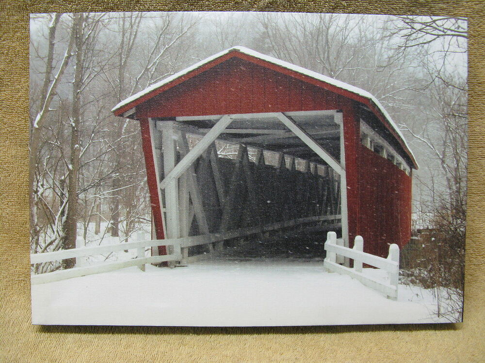 Covered Bridge Canvas Painting Snow Winter Trees Tilted