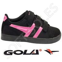GIRLS SKATE TRAINERS GOLA DANCE VELCRO BASEBALL PUMPS BLACK SCHOOL SHOES SIZE