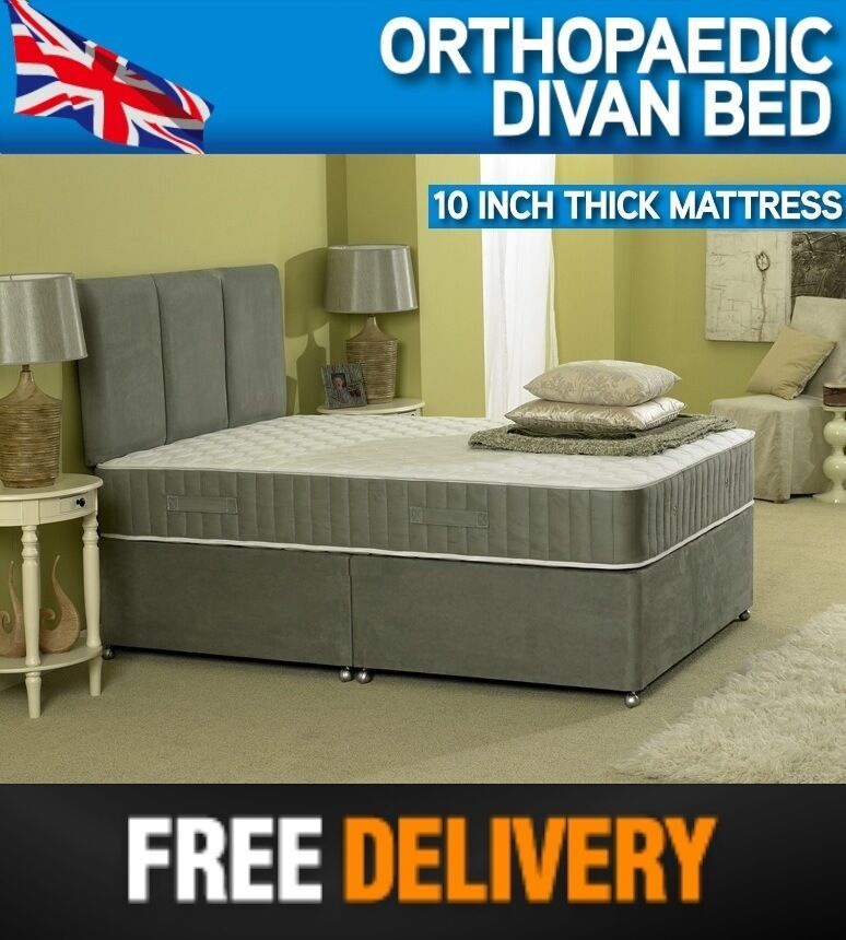 5 39 0 5ft king size orthopaedic divan bed 10 inch for Cheap king size divan