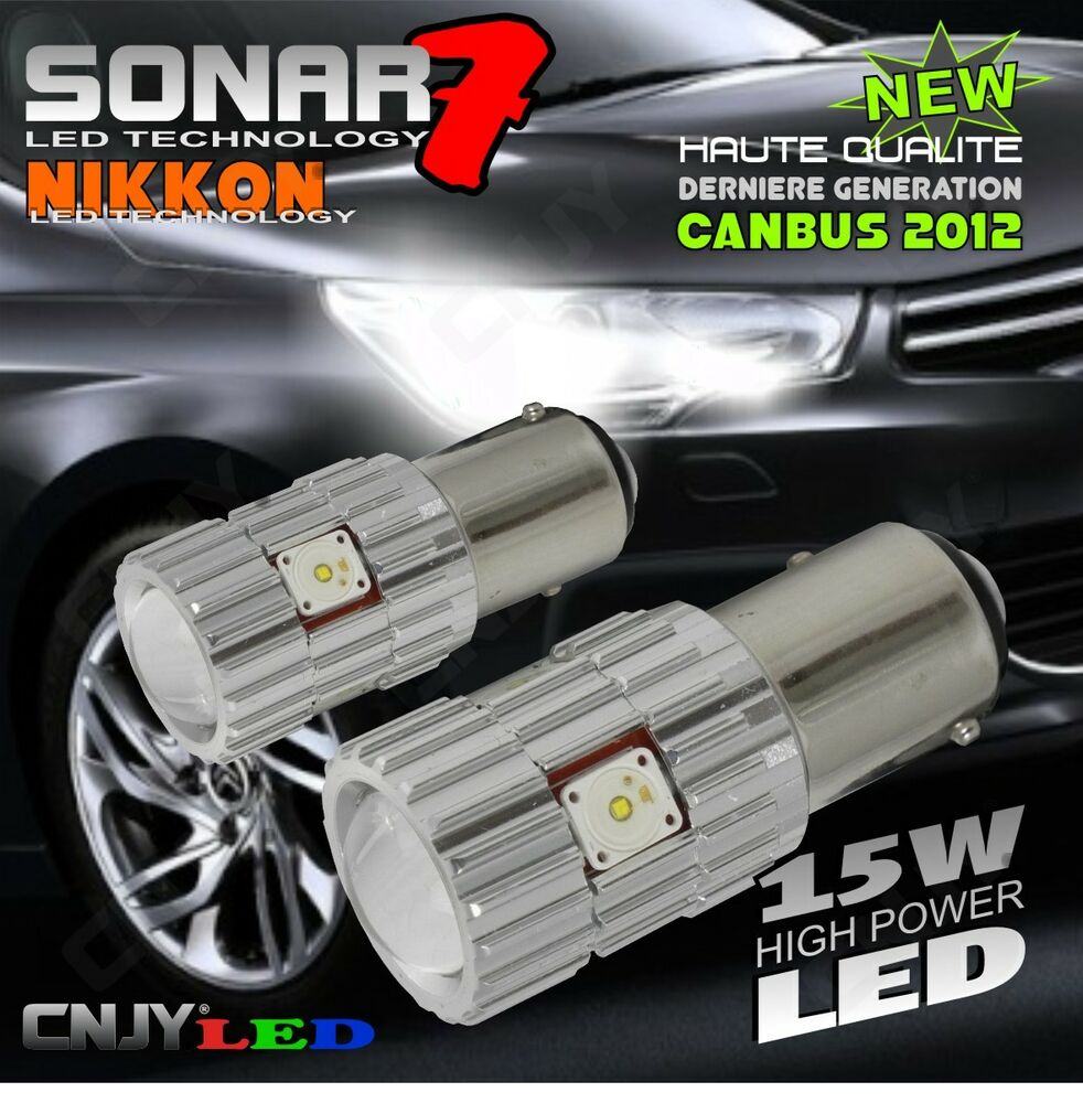2 ampoule sonar 7 led p21 5w xl blanc citroen c4 ii peugeot 308 3008 5008 rcz ebay. Black Bedroom Furniture Sets. Home Design Ideas
