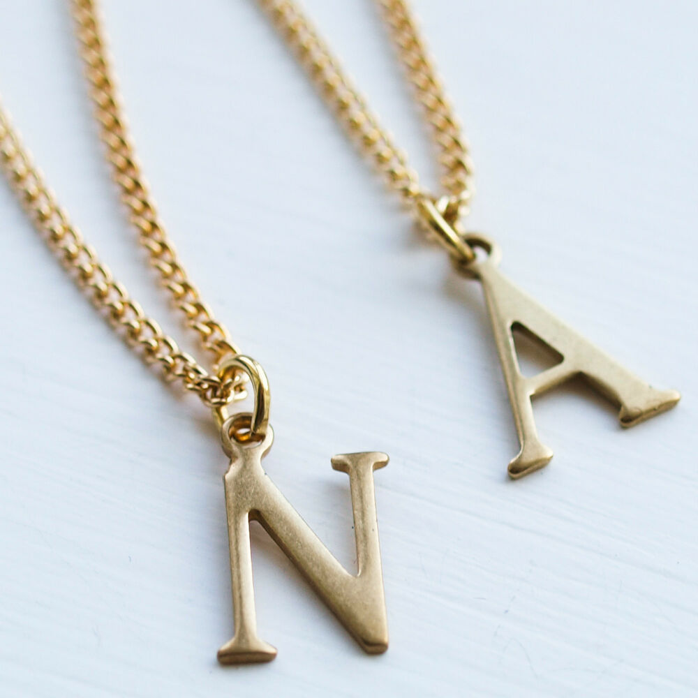 letter initial necklace charm name chain gold alphabet
