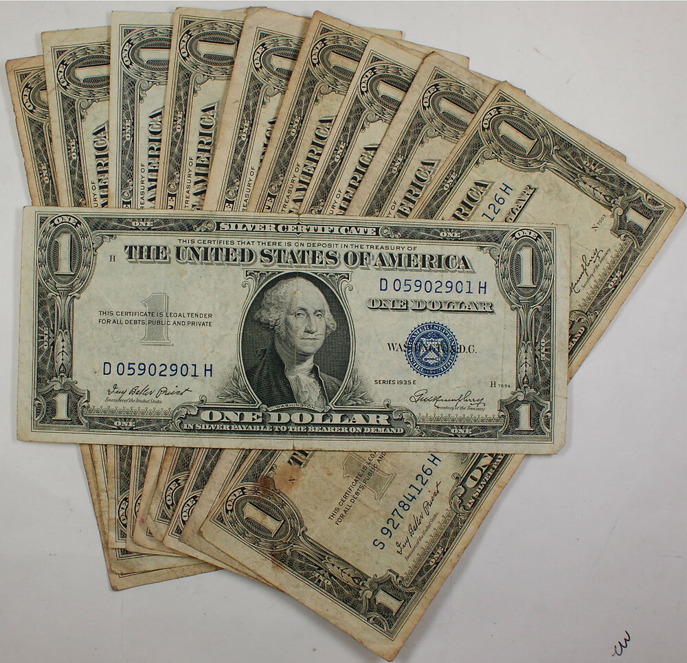 Lot Of 10 Old 1935 One 1 Dollar Bill Silver Certificates Vg Vf