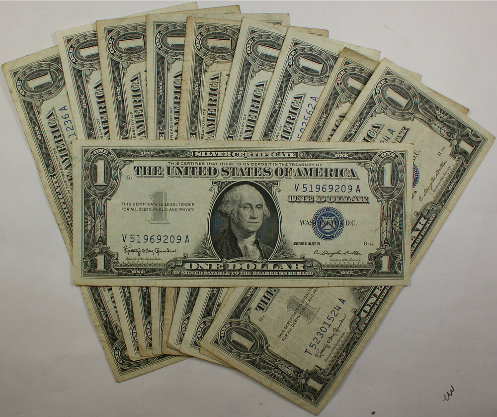 Lot Of 10 Old 1957 $1 Dollar Silver Certificates, VG-VF