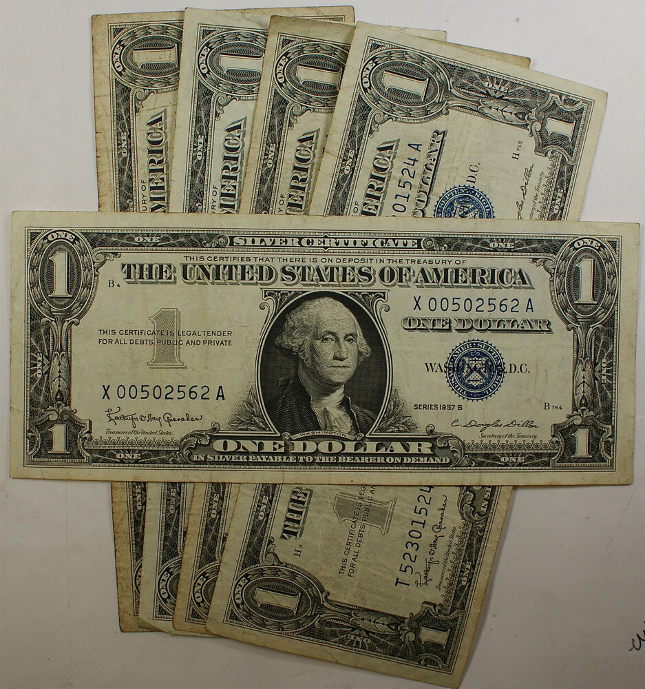 Lot Of 5 Old 1957 One $1 Dollar Bills Silver Certificates