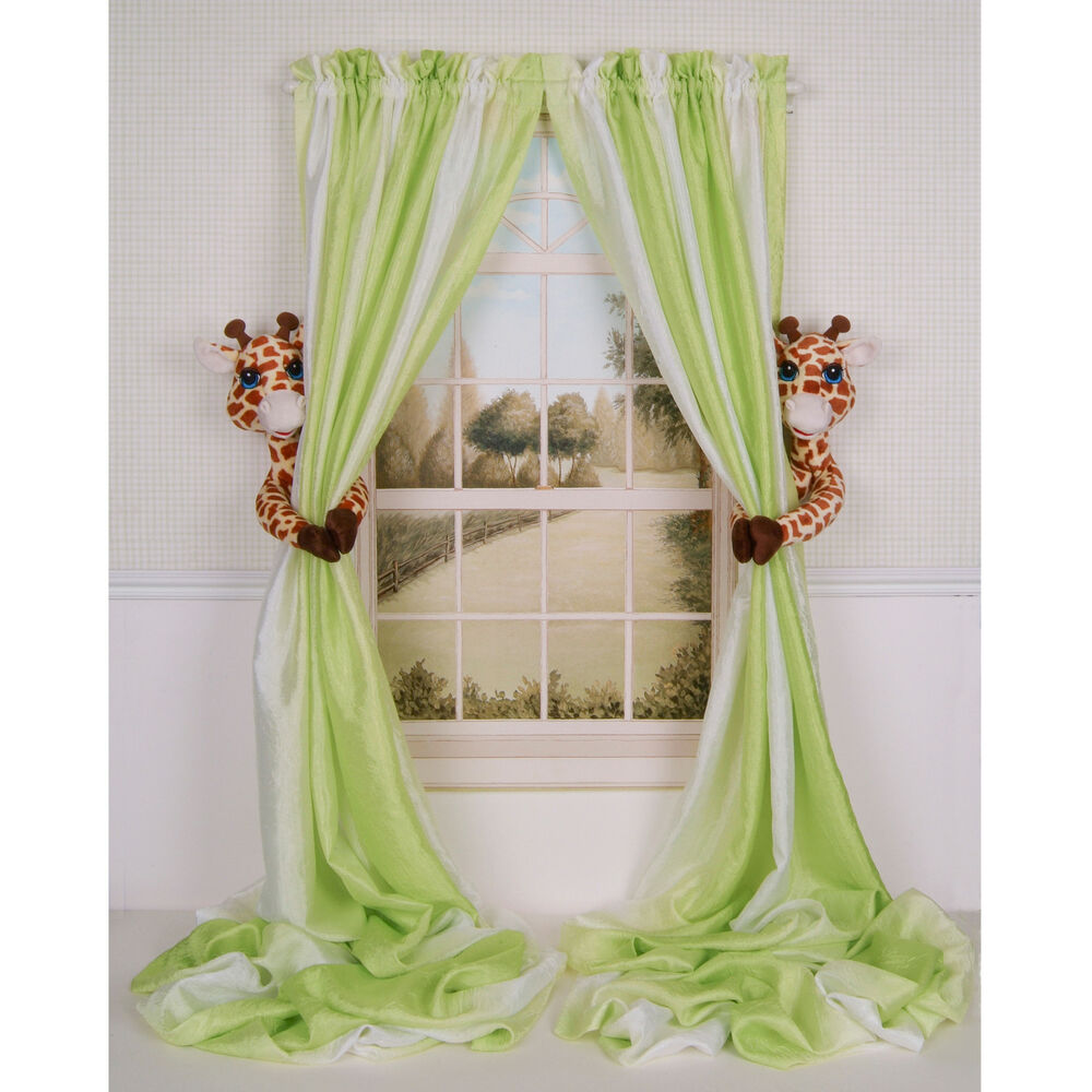 Curtain critters baby nursery jungle safari zoo giraffe for Drapes over crib
