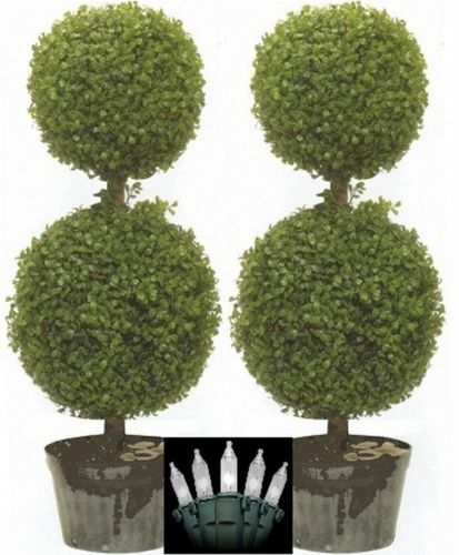 2 ARTIFICIAL 34 TOPIARY TREE BOXWOOD BALL OUTDOOR PLANT CHRISTMAS LIGHT