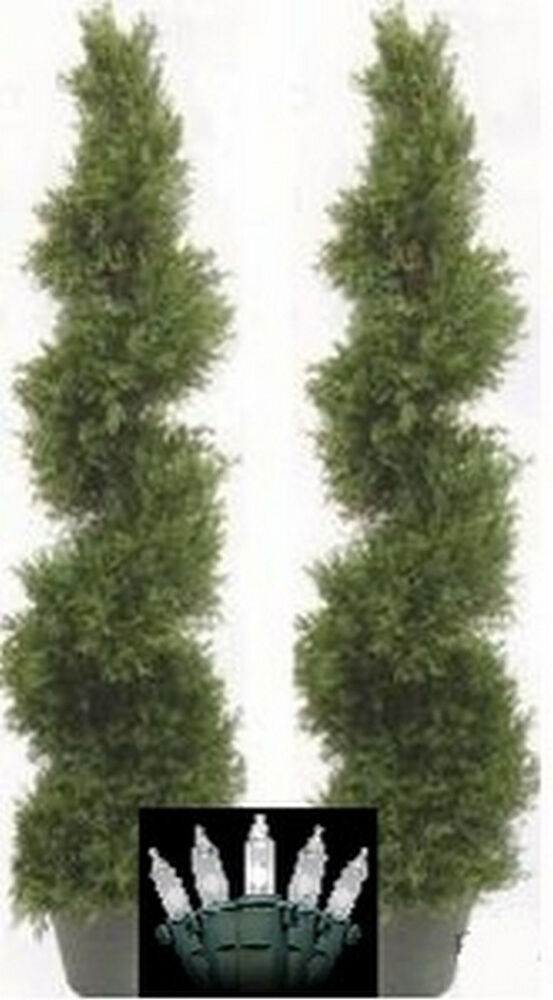 2 CYPRESS OUTDOOR TOPIARY ARTIFICIAL PLANT TREE 50 CEDAR SPIRAL CHRISTM