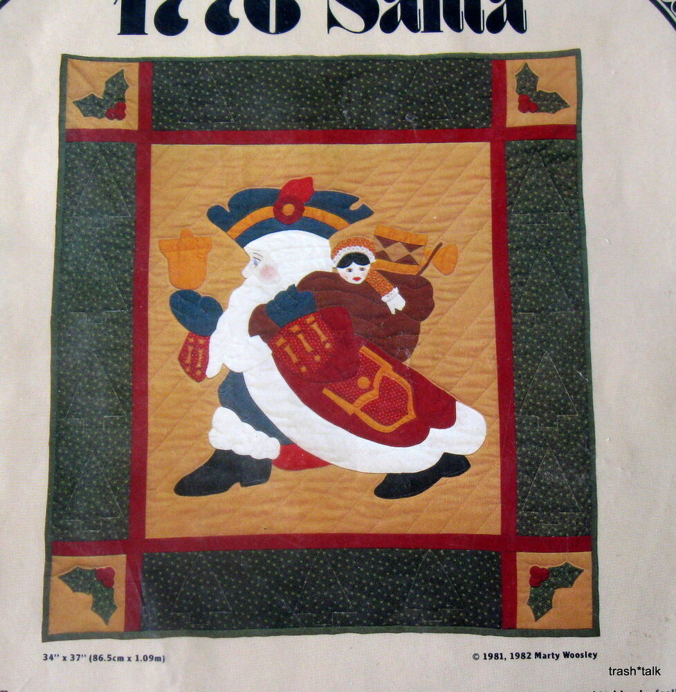 Christmas Quilt Pattern Wallhanging Patriotic Colonial Santa applique 34x37 eBay
