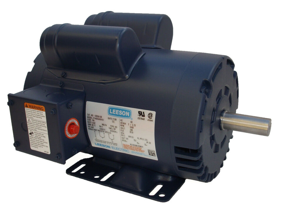 5 hp 3450 rpm air compressor electric motor 230v leeson 5hp motor