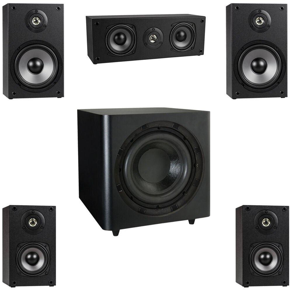 new 5 1 surround sound home theater speaker system w 10. Black Bedroom Furniture Sets. Home Design Ideas