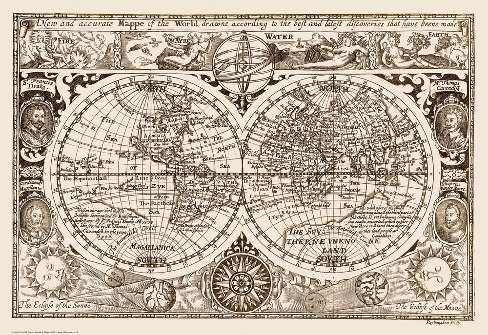 A New And Accurate Map Of The World 1628.World Map 1628 Reproduction Old Vintage 83x57cm 32x22ins Ebay