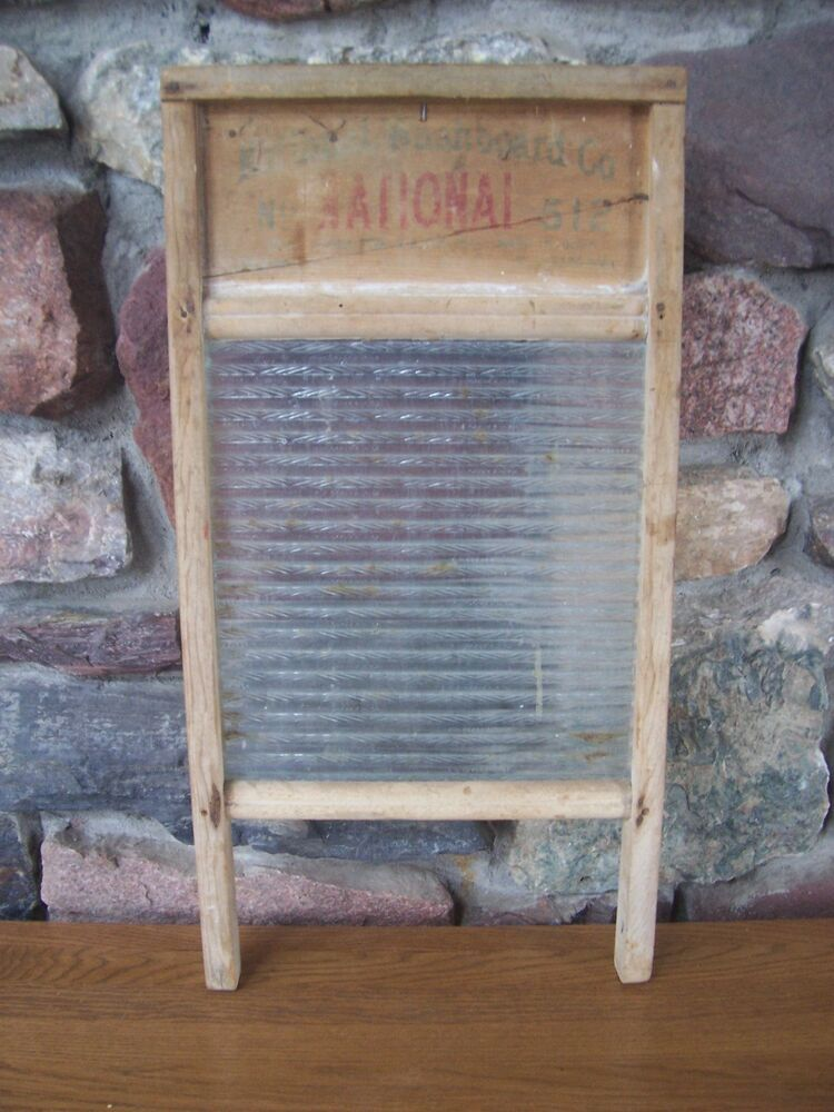 Vintage National 512 Wood And Ribbed Glass Washboard Ebay