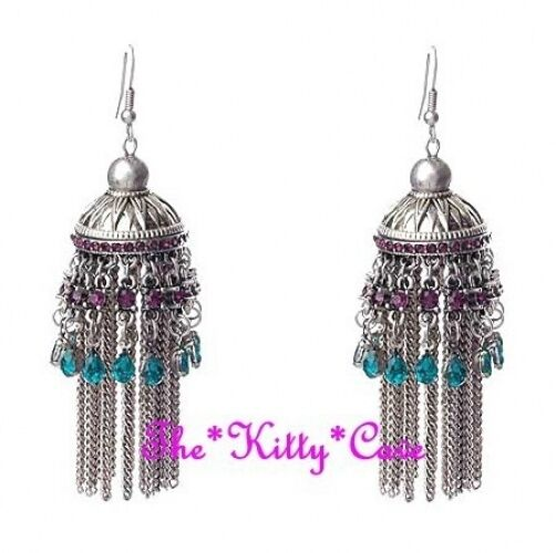 Crystal Chandelier Online India: Antique Silver Ethnic Indian Purple & Teal Crystal