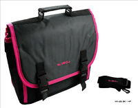 Hot Pink & Black Messenger Style Padded Carry Case Bag for Portable DVD Players