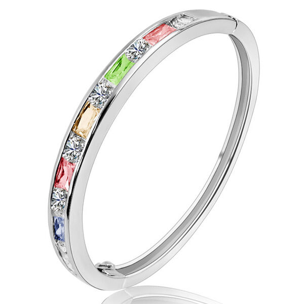 Solid sterling silver colourful cz crystal rainbow bangle bracelet
