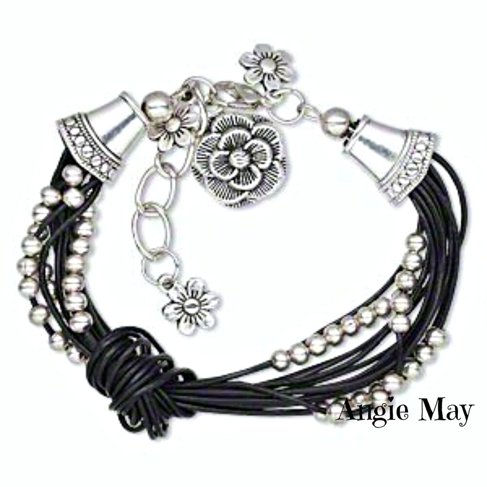 Leather Bracelet With Charms: Multi-strand Leather Bracelet With Antiqued Silver Pewter