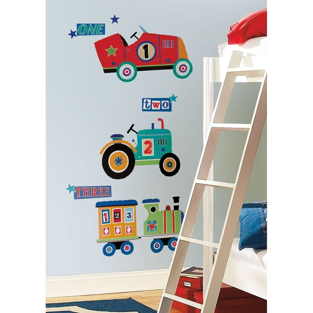 Transportation wall decals giant cars trains tractor stickers baby transportation wall decals giant cars trains tractor stickers baby nursery decor ebay amipublicfo Gallery