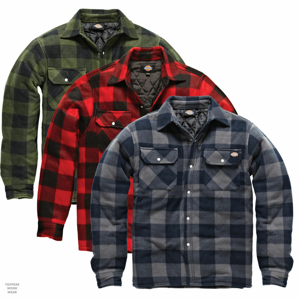 6261a2c526c Details about DICKIES PORTLAND Padded work shirt size S - XXL Black Red  Green check Men SH5000