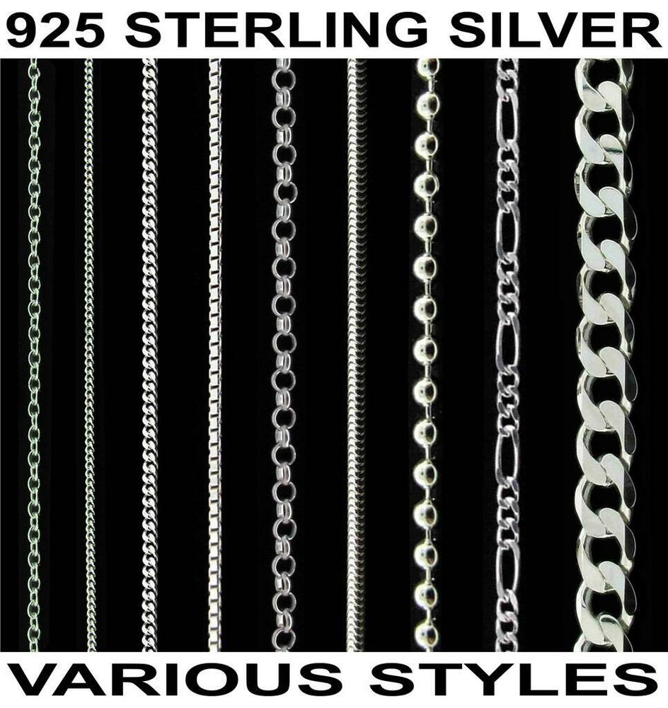 925 Sterling Silver 14 16 18 20 22 24 26 28 30 Quot Inch Curb