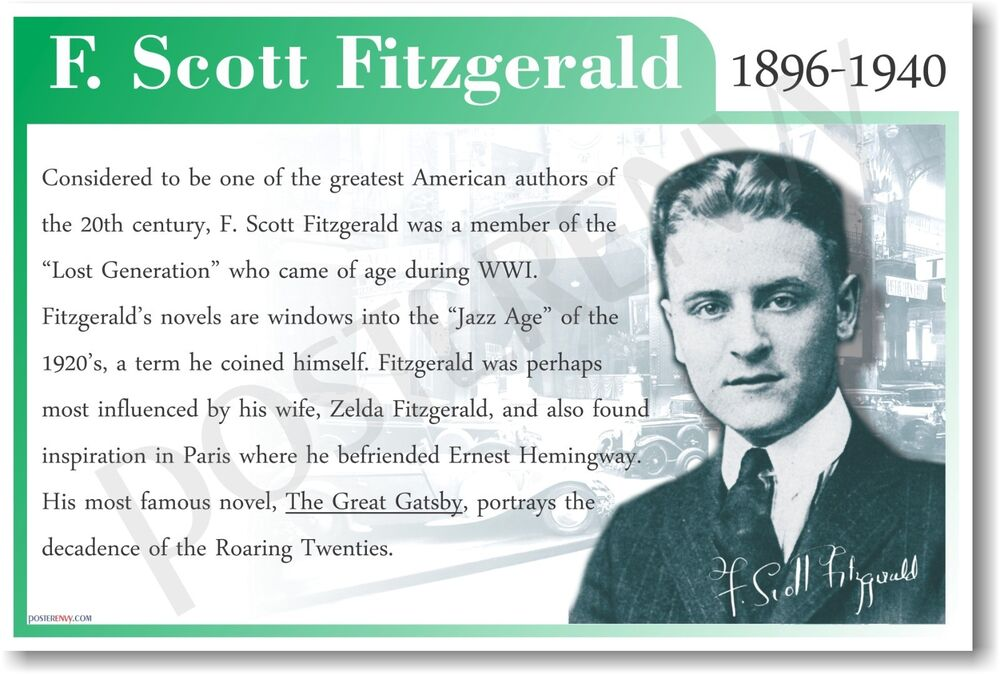 f scott fitzgerald biography F scott fitzgerald was one of the best known american authors of the 1920s and '30s and is closely associated with the optimism and excesses of that era's.