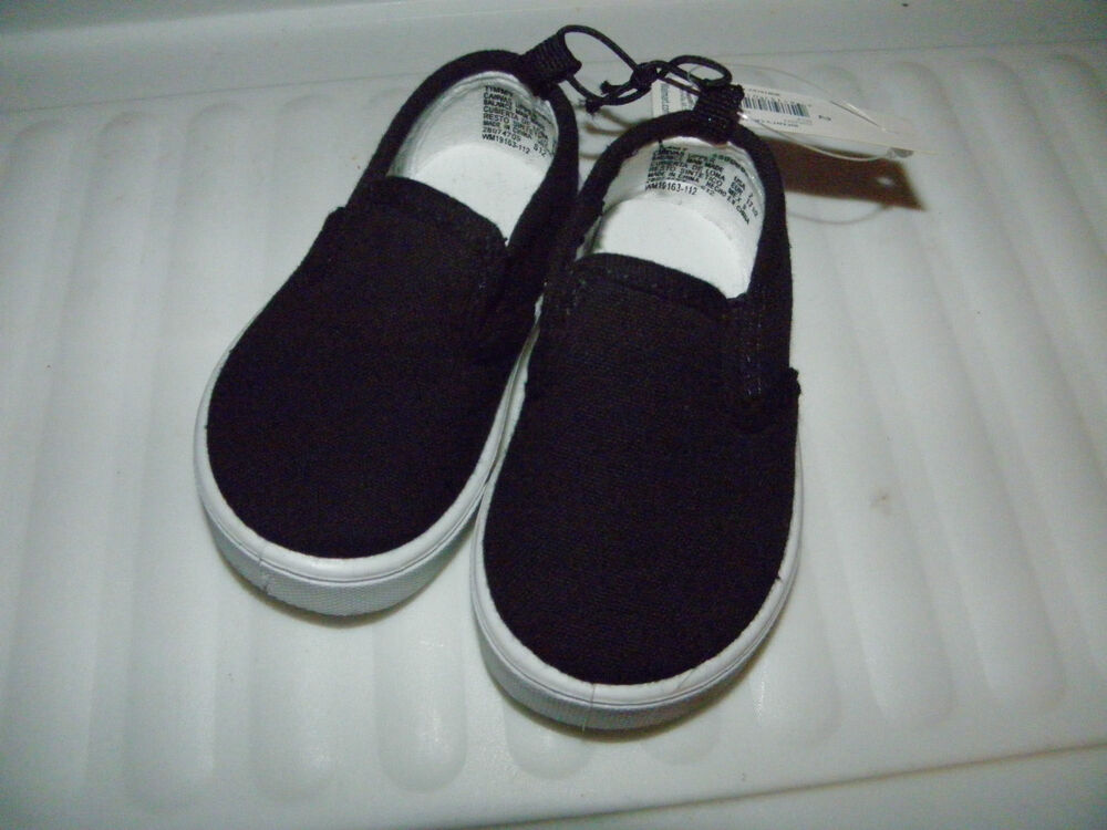 Faded Glory Infant Baby BOY or GIRL Black Canvas Shoes